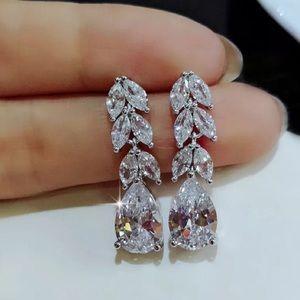 Cora Crystal Laurel Leaf Drop Earrings Bridal